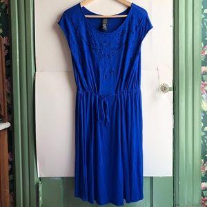 Spense Dresses - SPENSE Royal Blue Embroidered Floral Cutout Dress